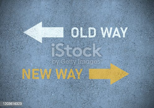 1088508096 istock photo Old way or new way (in yellow) roadmarking 1203616323