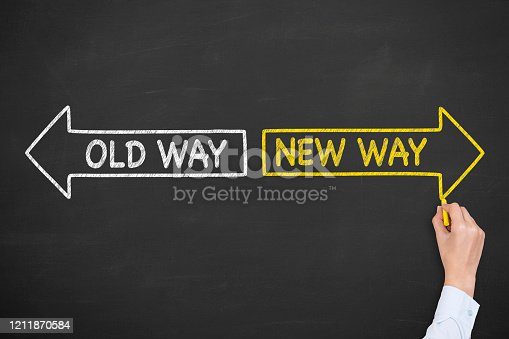 579158952 istock photo Old Way or New Way with Arrows Symbol on Blackboard Background 1211870584