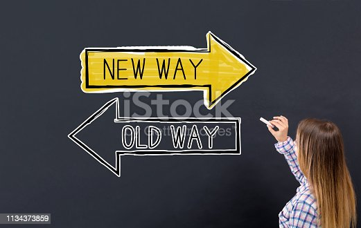 istock Old way or new way with young woman 1134373859