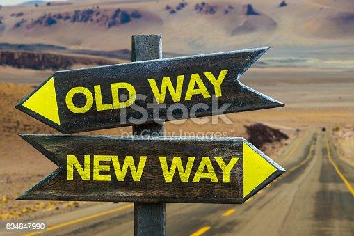istock Old Way x New Way Crossroad 834647990