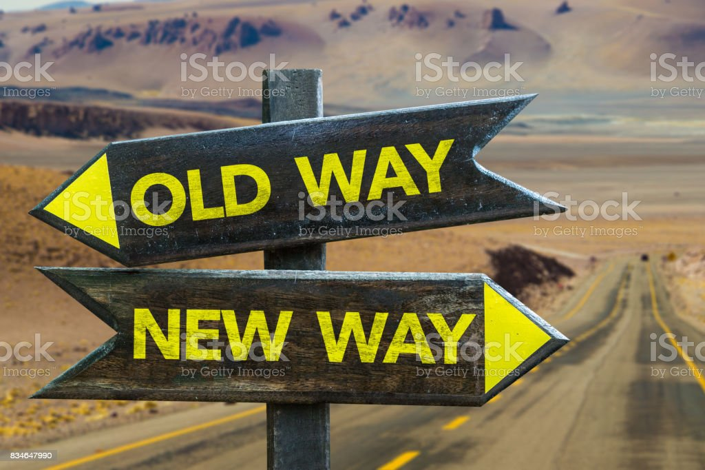 Old Way x New Way Crossroad stock photo