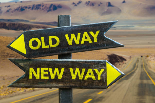 old way x new way crossroad - the past stock photos and pictures