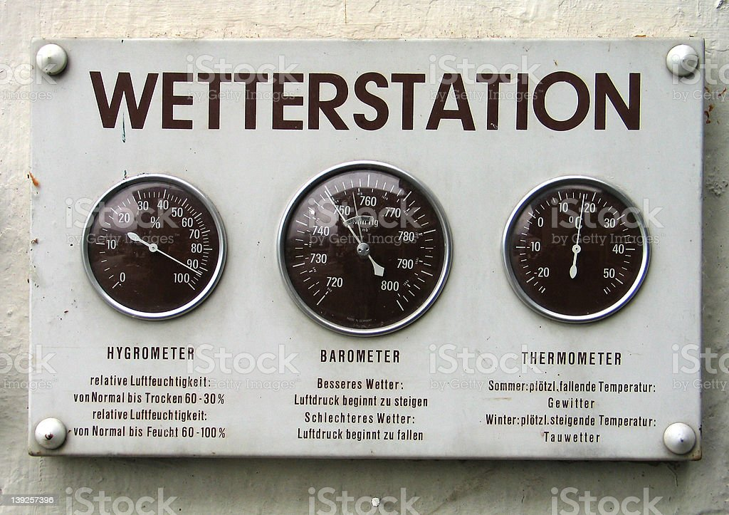 Old weather station stock photo