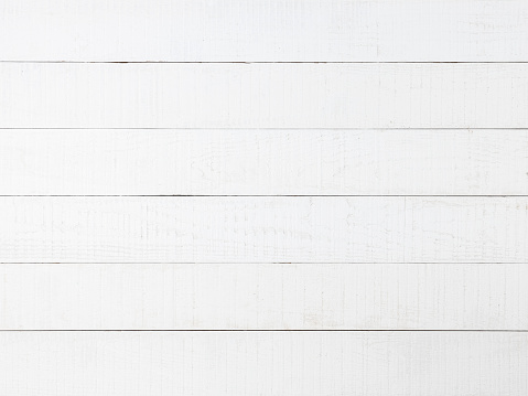 Old-fashioned worn white wooden paneling with patches of wood showing through the white paint. Nice rustic feel suitable for a classic background or for copy space.