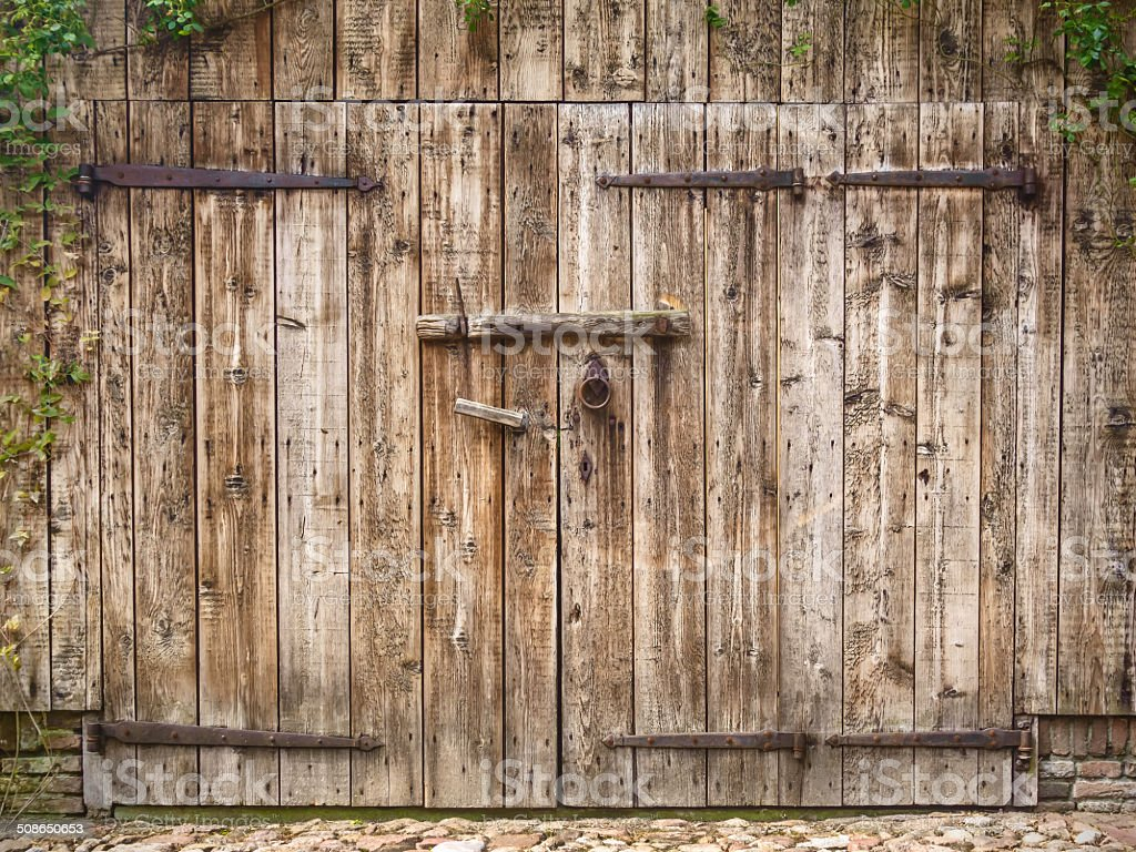 Old weathered barn door stock photo