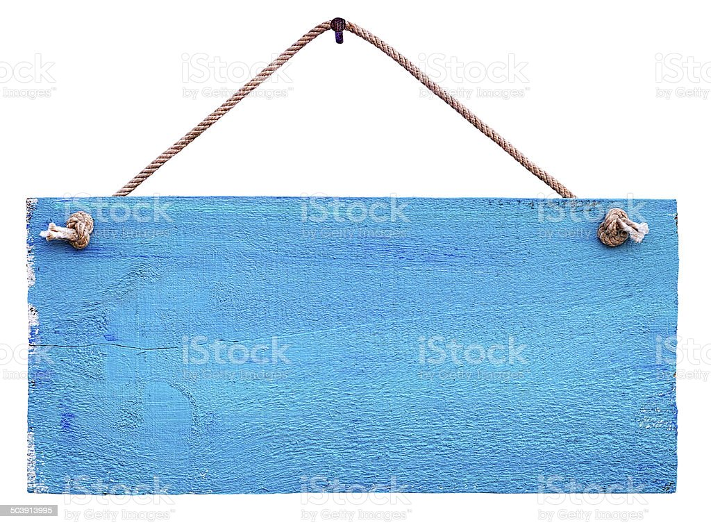 Old weathered blue wood signboard. royalty-free stock photo