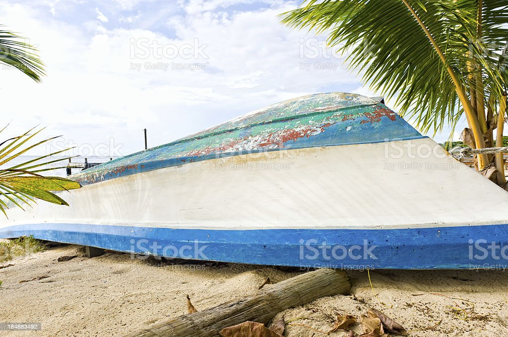 Old Weathered Boat on Beach royalty-free stock photo