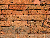Old, weathered brickwork in Kampot Province, Cambodia