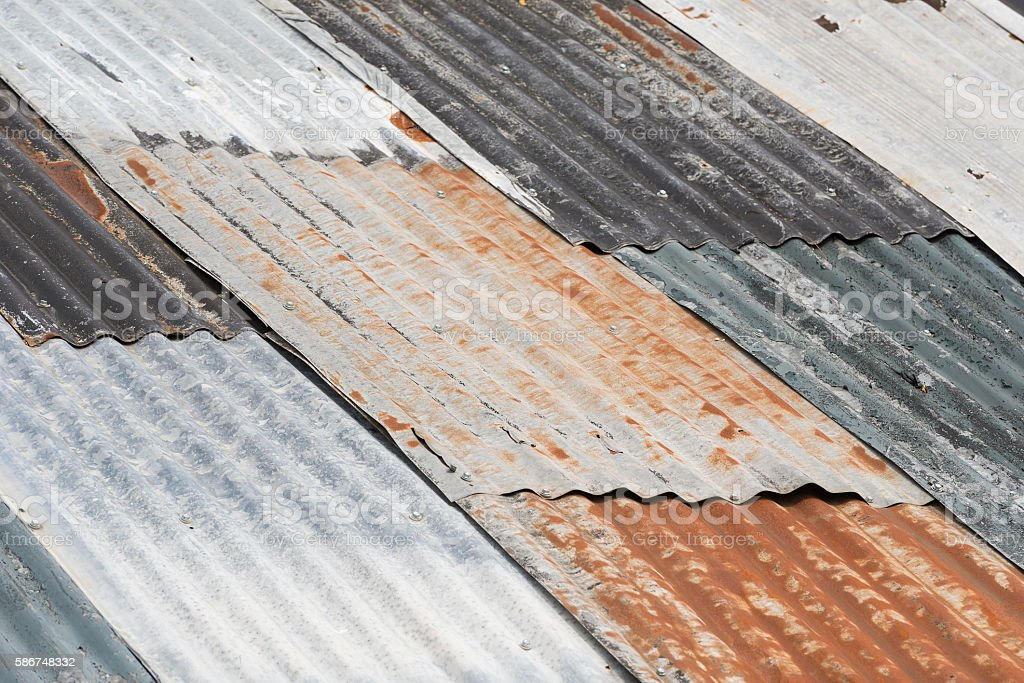 Old weathered corrugated metal. stock photo