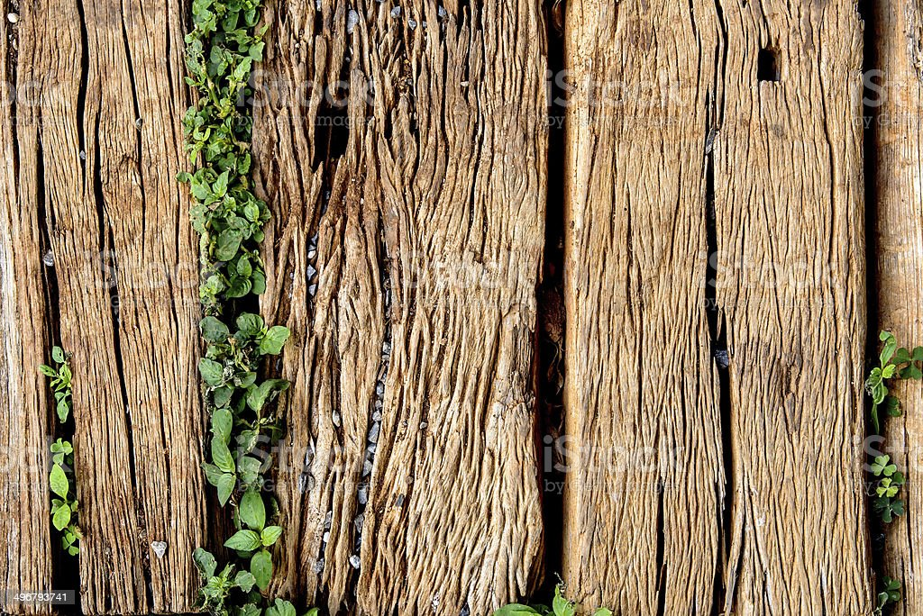 Old Weathered Cracked Wooden railroad tie Texture stock photo