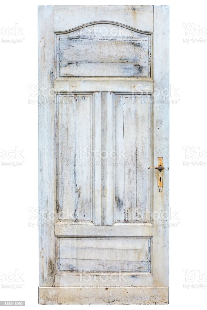 Old weathered door with cracked white paint stock photo
