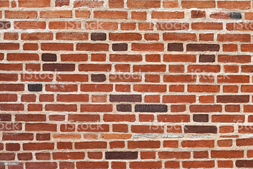 Old weathered grunge red brick wall as background royalty-free stock photo