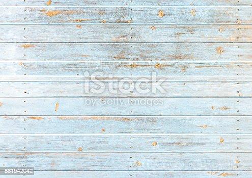 istock Old weathered light blue wood 861542042
