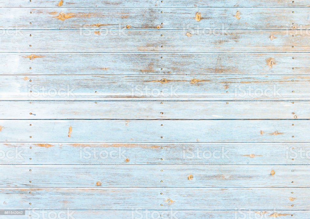Old weathered light blue wood stock photo