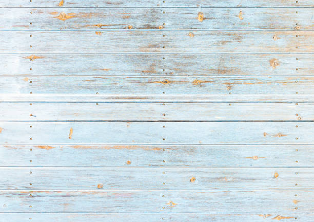 old weathered light blue wood - weathered stock pictures, royalty-free photos & images