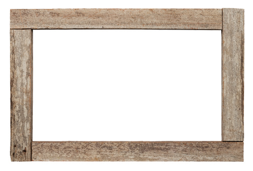 Old weathered natural wood border or frme, isolated on white, clipping path included, inside and outside the frame.