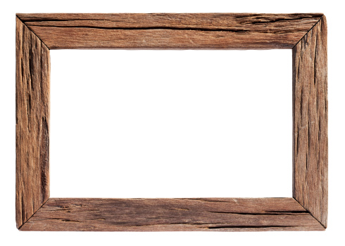 Old weathered natural wood frame, isolated on white, clipping path included, inside and outside the frame.