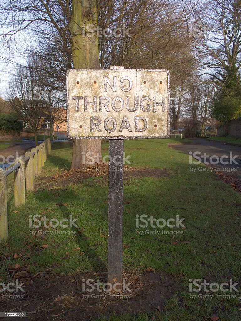 Old Weathered No Through Road Traffic Sign (with clipping path) royalty-free stock photo