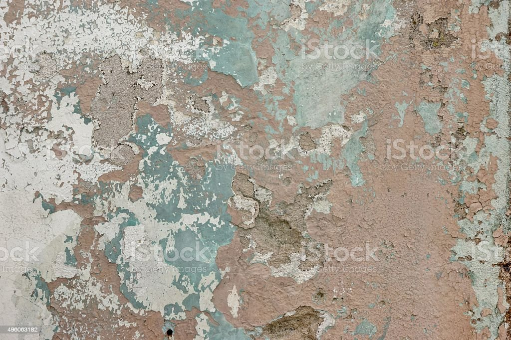 Old Weathered Paint Layer On The Grey Concrete Wall Texture stock photo