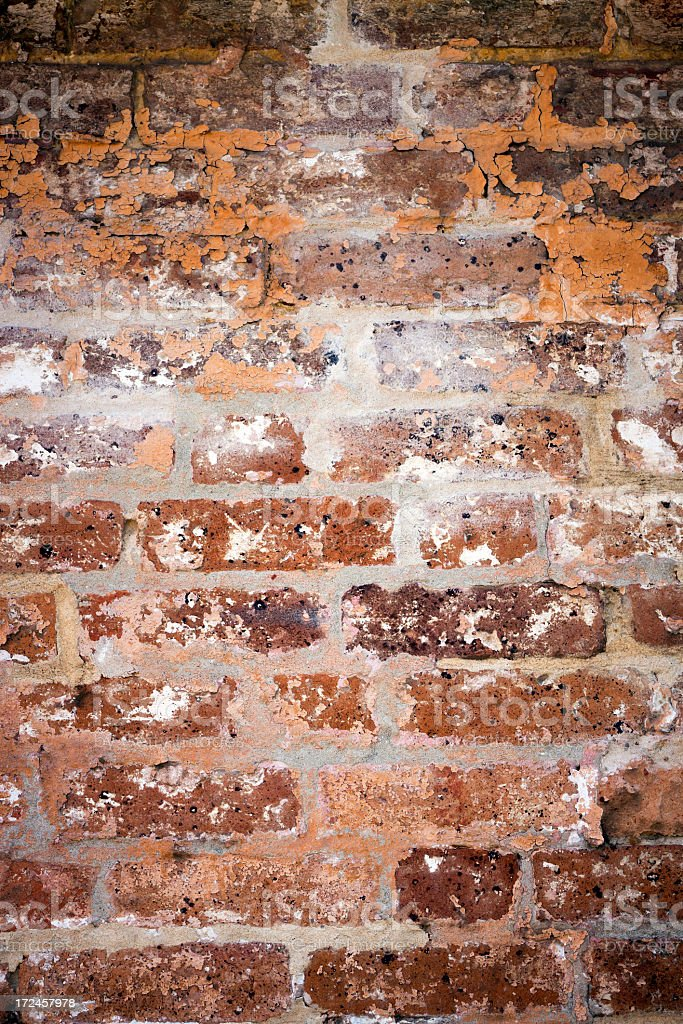 Old weathered red Brick wall background, copy space royalty-free stock photo