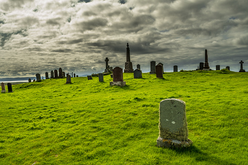 Old Weathered Thombstones On Graveyard Near Uig On The Isle Of Skye In Scotland