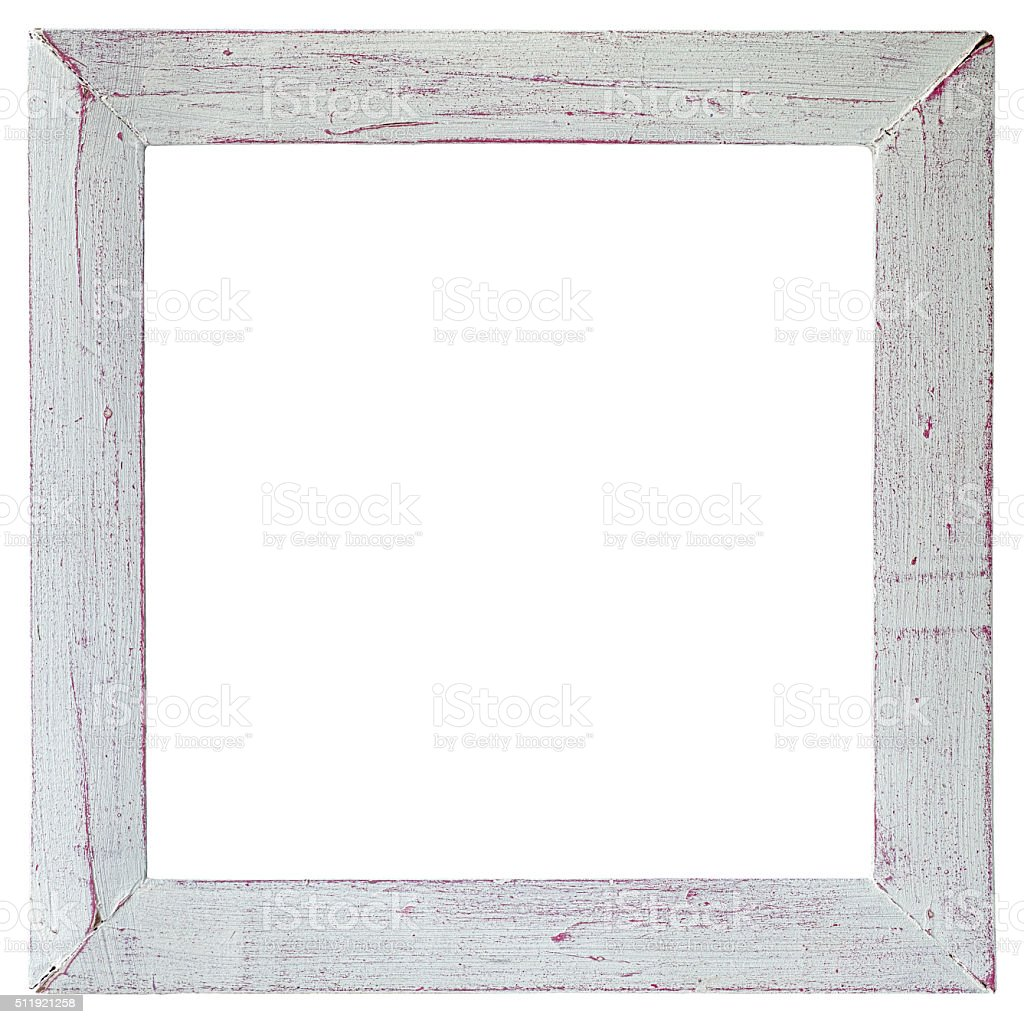 Old weathered white and pink wood frame. stock photo