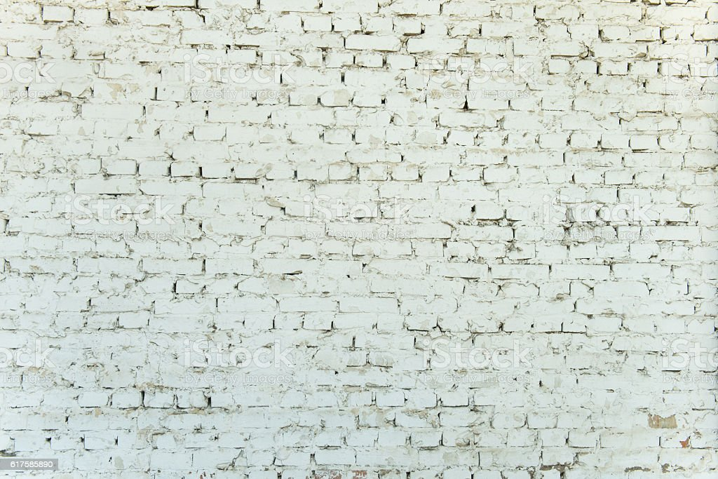 Old weathered white brick wall. Vintage texture Background. stock photo