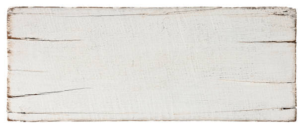 Old weathered white teak wood sign/signboard plank against an isolated white background. Clipping path included. stock photo