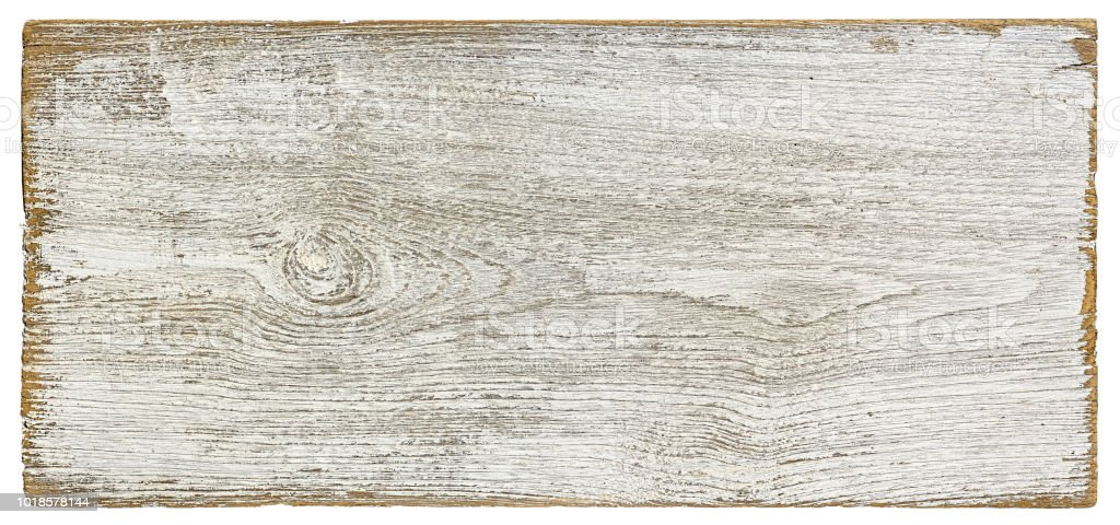Old weathered white textured wood panel background, isolated on white with clipping path. royalty-free stock photo