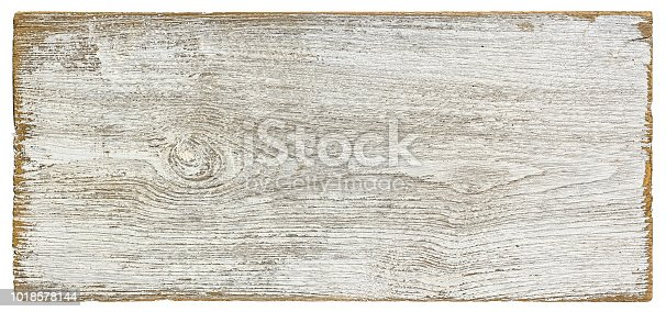 Old weathered white textured wood panel background, isolated on white with clipping path.