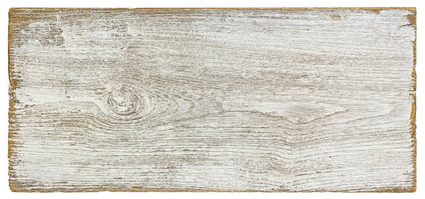 Old weathered white textured wood panel background, isolated on white with clipping path. stock photo
