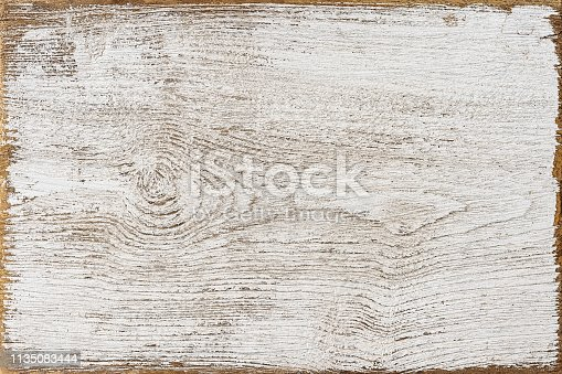 Old weathered white textured wooden teak board panel background with lots of texture and grain and a nice exposed worn wood edge frame.