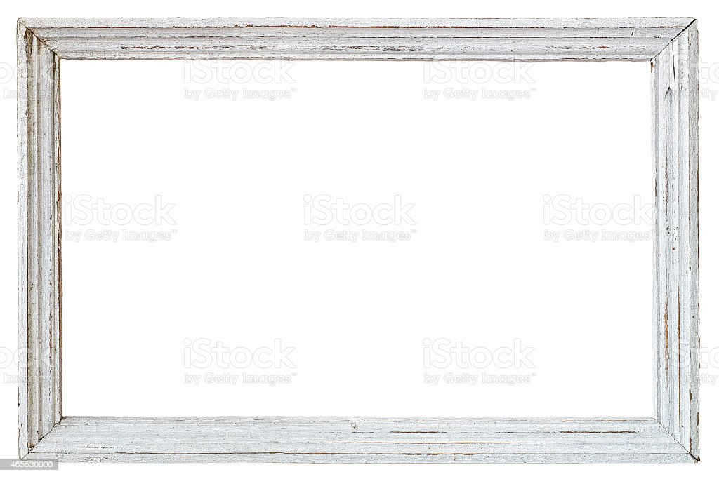 Bon Old Weathered White Vintage Wood Frame. Royalty Free Stock Photo