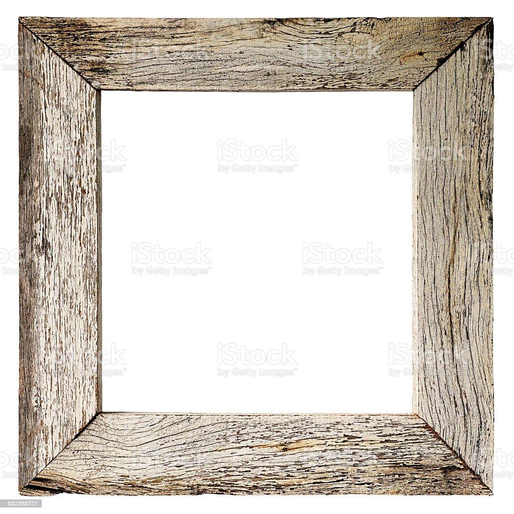 Old weathered white wood border or frame. stock photo