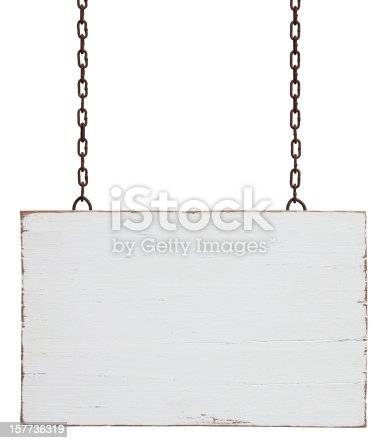 Old weathered white wood signboard, hanging by old chains, composite image, isolated on white, clipping path included.