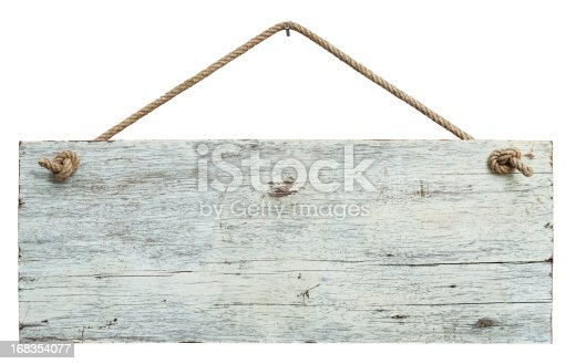Old weathered white wood signboard, hanging by old rope from a nail, high resolution, composite image, isolated on white, clipping path included.