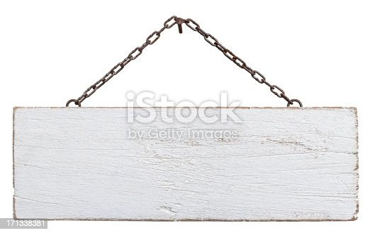Old weathered white wood signboard, hanging by an old chain from a nail, composite image, isolated on white, clipping path included.