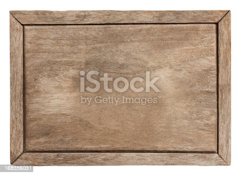Old weathered wood board background, with frame. Isolated on white, clipping path included.