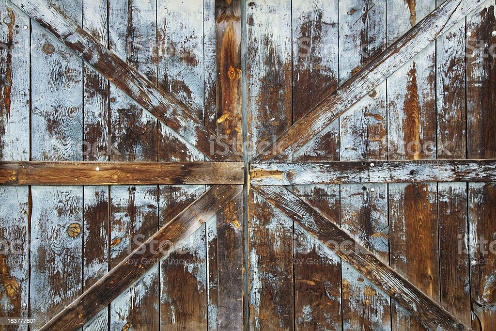 Old, Weathered Wood Door stock photo