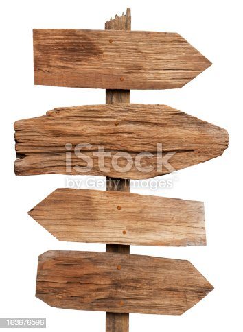 istock Old weathered wood sign boards. 163676596