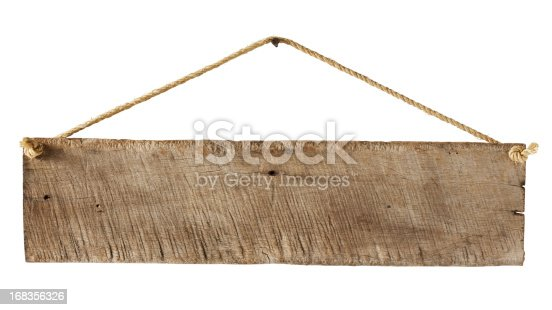 Old weathered wood sign background, hanging by old rope from a nail, isolated on white, clipping path included.