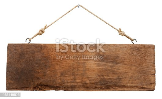 Old weathered wood signboard, hanging by old rope from a nail, isolated on white, clipping path included.