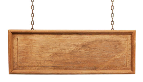 Old framed weathered wood signboard hanging by chains, isolated on white,clipping path included.