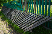 istock Old weathered wooden fence 1168911662