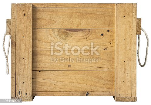 Protective packaging box with carrying handles. Lots of wood character and texture, good copy space in the center of the image.