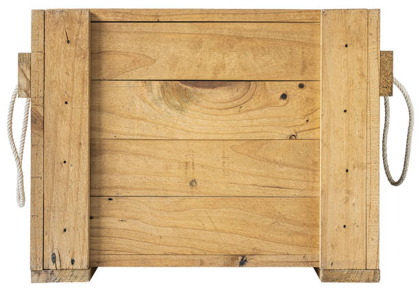 Old weathered wooden pine wood packaging box crate. Isolated on white, clipping path included. stock photo