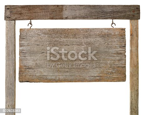 Old weathered wooden sign board hanging by hooks from a wooden frame, isolated on white, clipping path included.