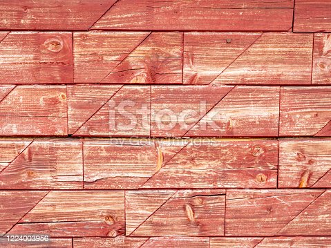 istock Old weathered wooden wall painting renovation 1224003956