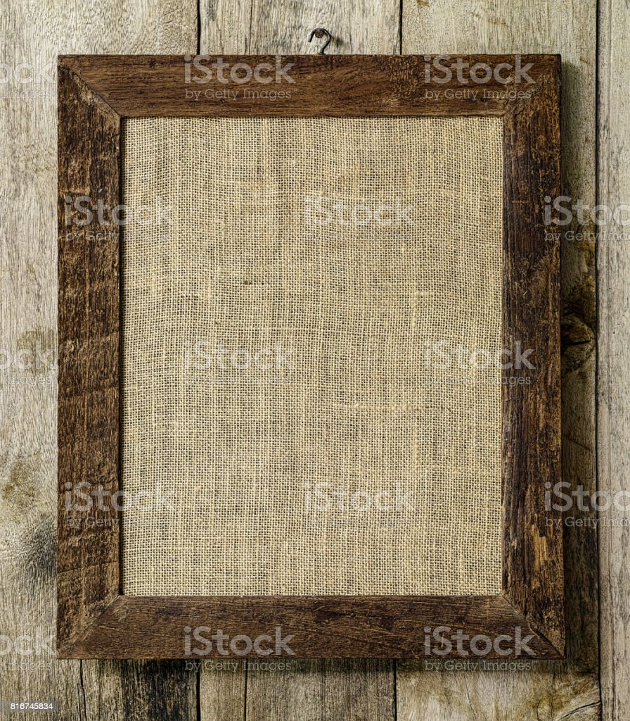 Old Weathered Worn Natural Wooden Picture Frame With Burlap Sac ...
