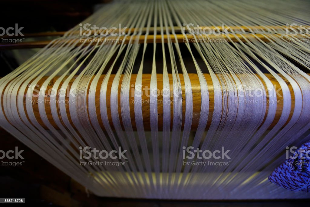 Old weaving loom stock photo